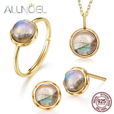 Gold Plated Sterling Silver Labradorite Ring Necklace and Earrings Set