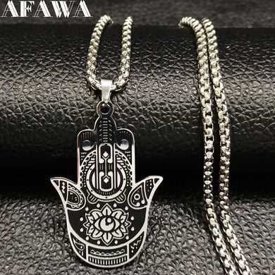Stainless Steel Men's Chain Necklaces Hamsa, Hand, Yoga or Ganesha