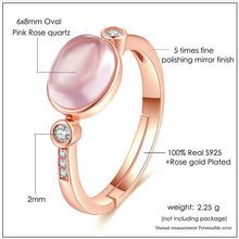 Load image into Gallery viewer, 18k Rose Gold Plated Sterling Silver Natural Pink Rose Quartz Ring