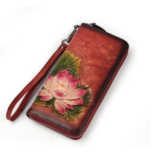 Leather Zippered Wallet with Lotus Flower