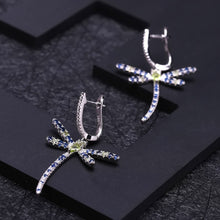 Load image into Gallery viewer, Sterling Silver Peridot CZ Dragon Fly Earrings