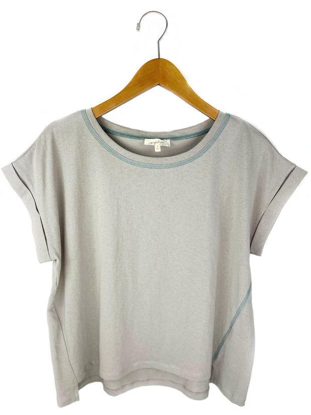 rolled up short sleeve side stitch top