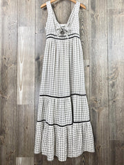 checked tie front maxi dress