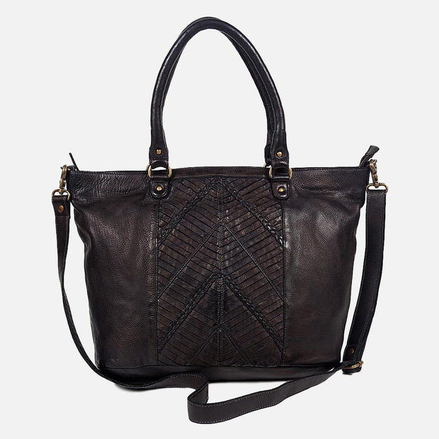 sanders vintage leather tote - black