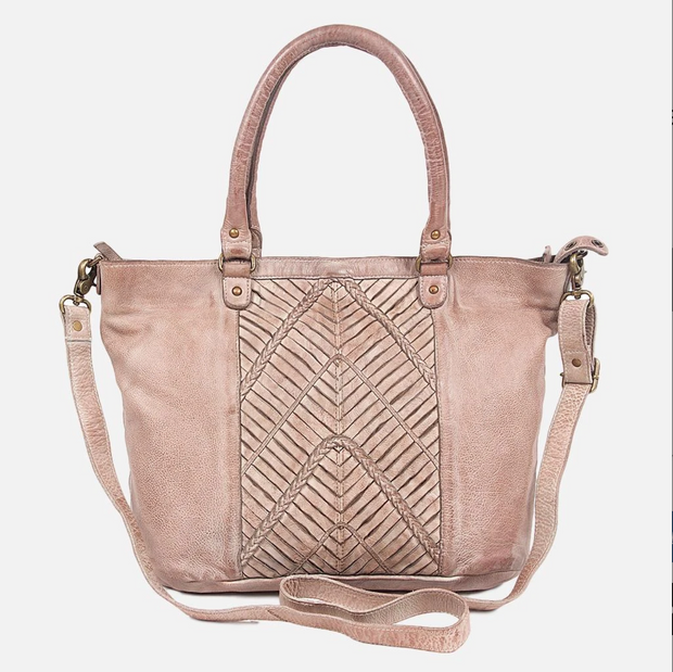 sanders vintage leather tote - taupe