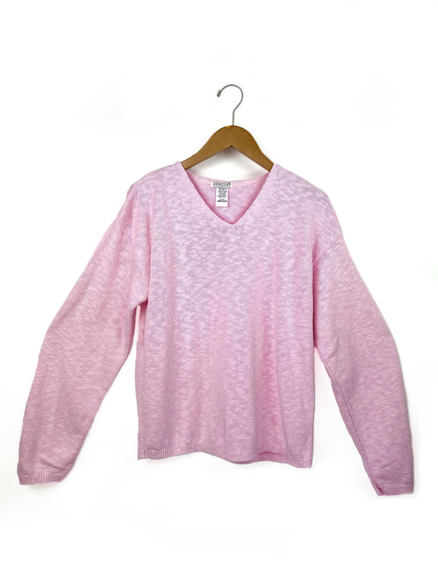 long sleeve crop v-neck slub sweater