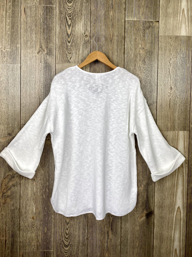 v-neck slub yarn tunic