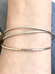 skinny triple hammered bangle set
