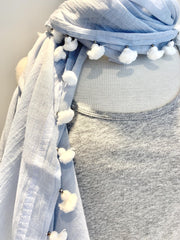 cotton/silk pompom scarf