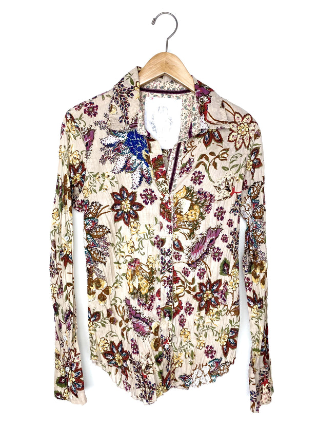 antique floral button down