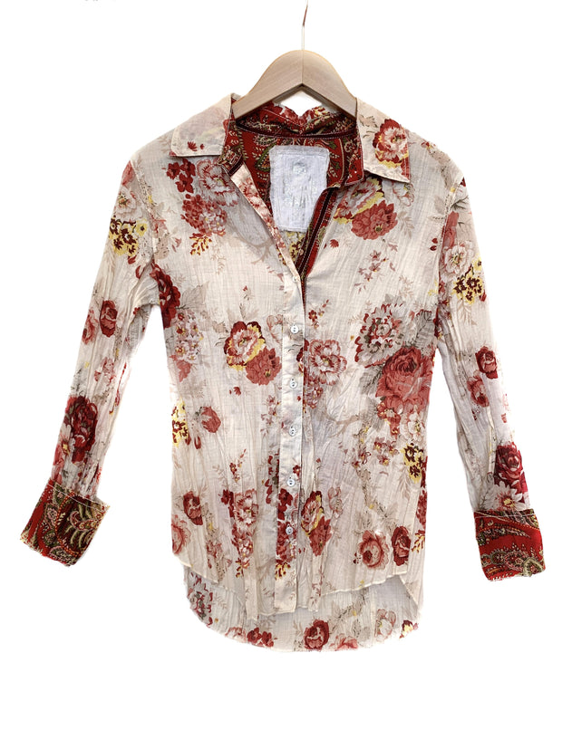 cino washed roses blouse