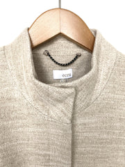 funnel neck coat with knit sleeves