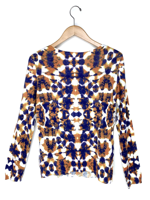 printed boat neck sweater