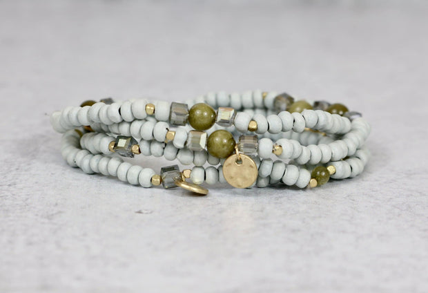 stackable wood bead bracelet