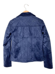 quilted moto jacket - navy
