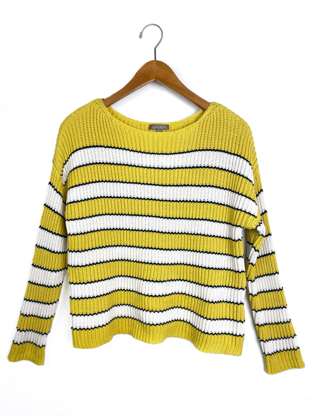 cropped striped boatneck sweater