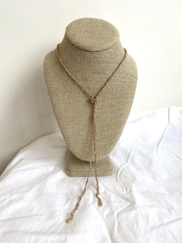 rosy woven necklace