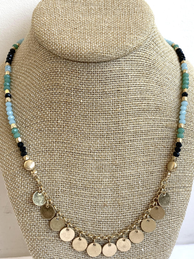 crystal beaded charm necklace
