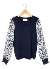 knit top with animal woven sleeves