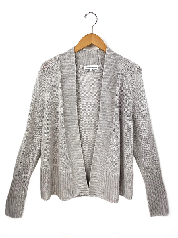 rib placket open cardigan