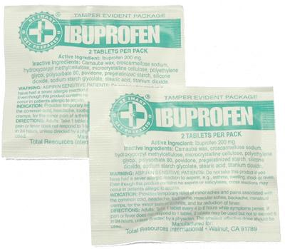 100 Ibuprofen Packs with 2 Tablets
