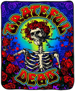 Blankets Grateful Dead - Bertha Skeleton and Roses - Fleece Blanket 100031