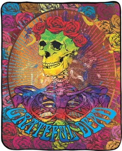 Blankets Grateful Dead - Bertha Skeleton and Roses - Fleece Blanket 100186