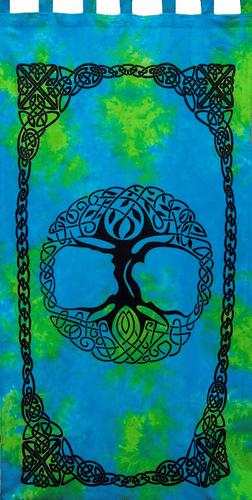 Curtains Celtic Knot Tree of Life - Blue and Green - Curtain 100374