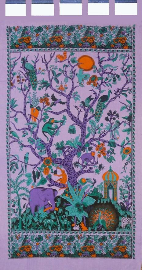 Curtains Family Tree of Life - Purple - Curtain 100115