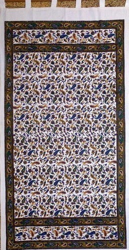 Curtains Floral Paisley - White and Blue - Curtain 100126