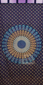 Curtains Sanganer Circle Mandala - Blue - Curtain 100124