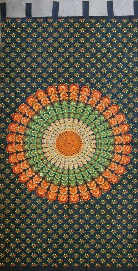 Curtains Sanganer Circle Mandala - Green - Curtain 005914