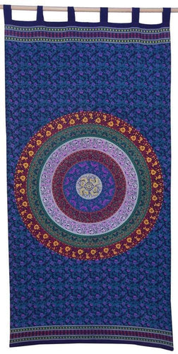 Curtains Sanganer Circle of Flowers - Blue - Curtain 100117