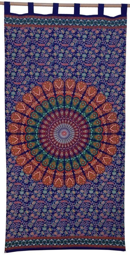 Curtains Sanganer Peacock Mandala - Blue - Curtain 100118