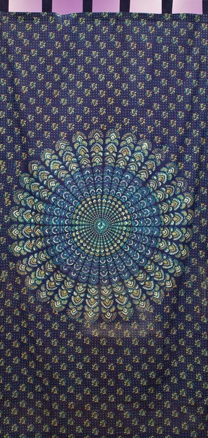 Curtains Sanganer Peacock Mandala - Navy Blue - Curtain 100127