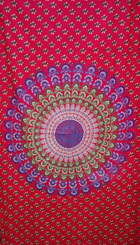 Curtains Sanganer Peacock Mandala - Red - Curtain 100122