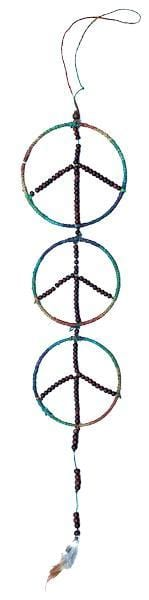 Dreamcatchers Three Tier Peace - Hemp and Beaded - Dreamcatcher 004142