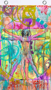 Flags Dean Russo - Vitruvian Man - Black Light Flag 100950