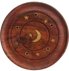 Incense Celestial Star and Moon Inlay - Round Incense Burner 100228