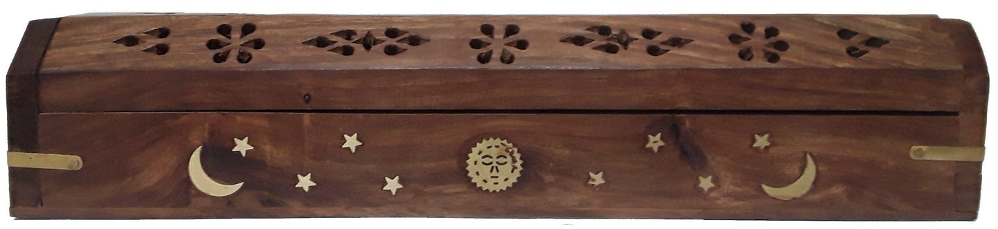 Incense Celestial Sun, Moon and Stars - Wood - Coffin Incense Burner 100282