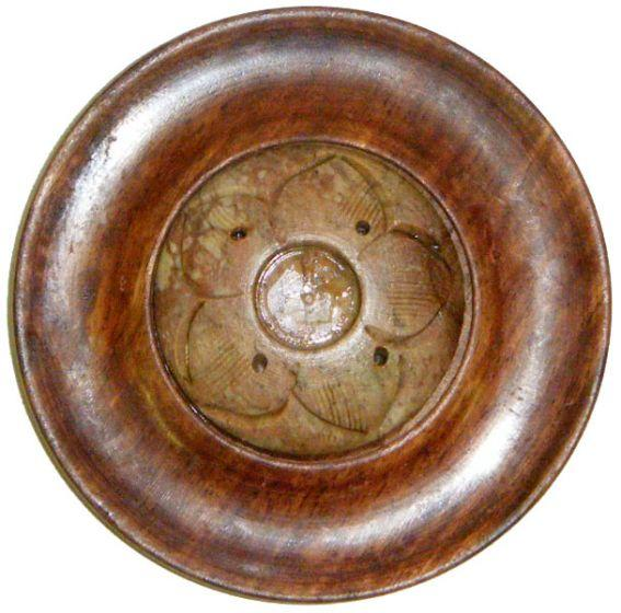 Incense Wood and Soapstone Flower - Round Incense Burner