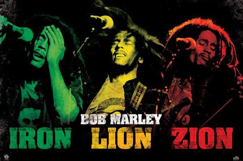 Posters Bob Marley - Rasta Iron Lion Zion - Poster 001288
