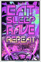 Load image into Gallery viewer, Posters Eat Sleep Rave - Black Light Poster 100163