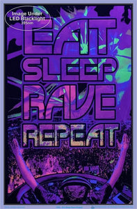 Posters Eat Sleep Rave - Black Light Poster 100163