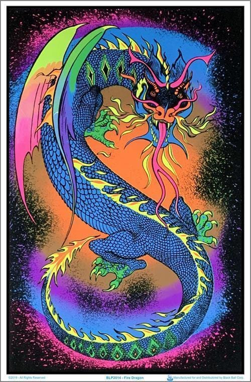 Posters Fire Dragon - Black Light Poster 100138