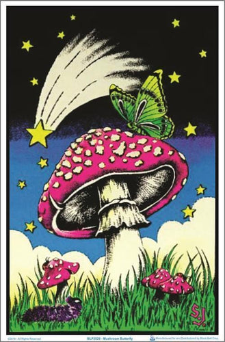 Posters Mushroom Butterfly - Black Light Poster 100227