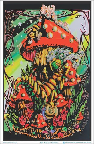 Posters Mushroom Caterpillar - Black Light Poster po-329