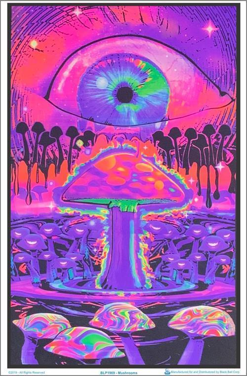 Mushroom Ripple - Black Light Poster