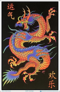 Posters Mystic Asian Dragon - Black Light Poster 006154