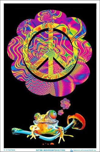 Posters Psychedelic Mushroom Peace Frog - Black Light Poster 100052